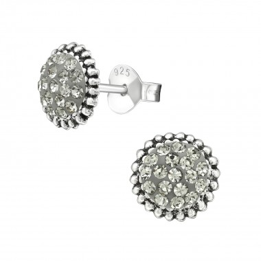 Round - 925 Sterling Silver Stud Earrings with Crystals SD39951