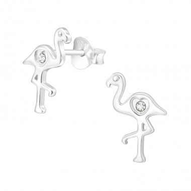 Flamingo - 925 Sterling Silver Stud Earrings with Crystals SD40014