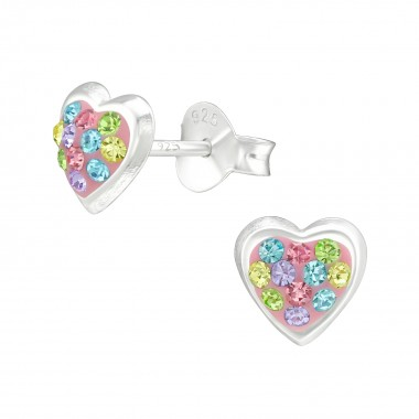 Heart - 925 Sterling Silver Stud Earrings with Crystals SD40283