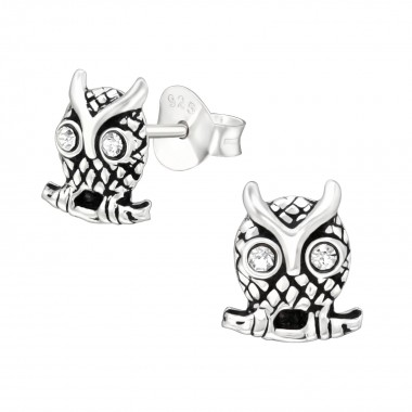 Owl - 925 Sterling Silver Stud Earrings with Crystals SD40501