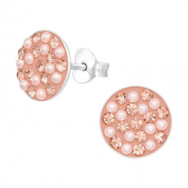 Round - 925 Sterling Silver Stud Earrings with Crystals SD40668