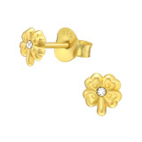 Lucky Clover - 925 Sterling Silver Stud Earrings with Crystals SD40719