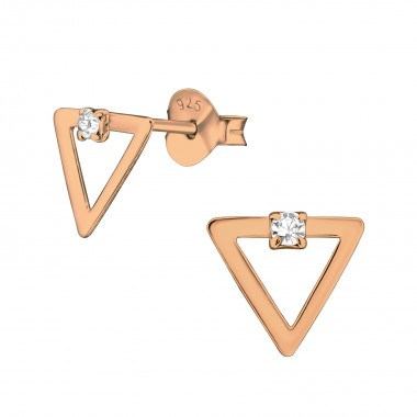 Triangle - 925 Sterling Silver Stud Earrings with Crystals SD40907