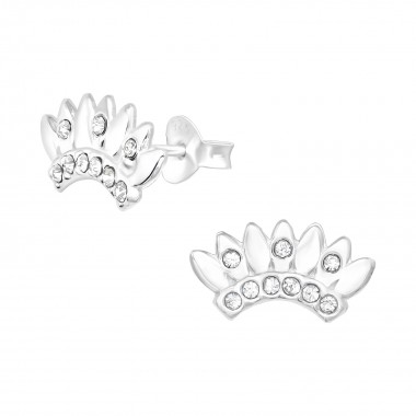 Crown - 925 Sterling Silver Stud Earrings with Crystals SD40984