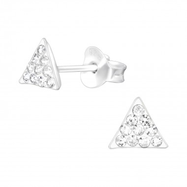 Triangle - 925 Sterling Silver Stud Earrings with Crystals SD41020