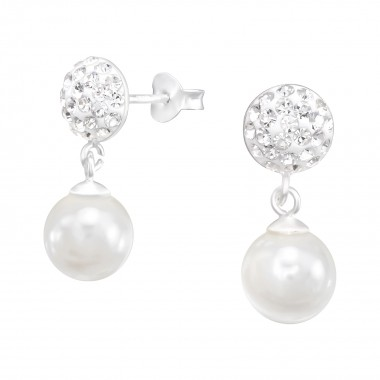 Round - 925 Sterling Silver Stud Earrings with Crystals SD41090