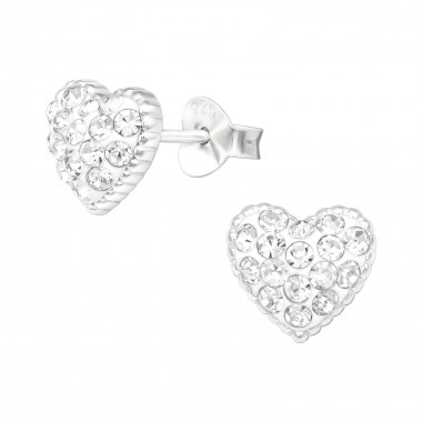 Heart - 925 Sterling Silver Stud Earrings with Crystals SD41106