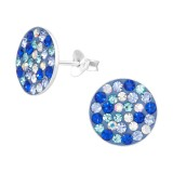 Round - 925 Sterling Silver Stud Earrings with Crystals SD41134