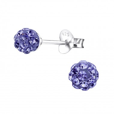 Ball - 925 Sterling Silver Stud Earrings with Crystals SD4128