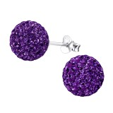 Ball - 925 Sterling Silver Stud Earrings with Crystals SD4131