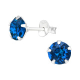Round 6mm - 925 Sterling Silver Stud Earrings with Crystals SD41592