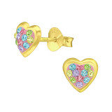 Heart - 925 Sterling Silver Stud Earrings with Crystals SD41761
