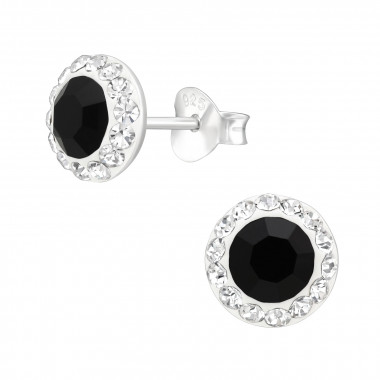 Round - 925 Sterling Silver Stud Earrings with Crystals SD42184