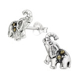 Elephant - 925 Sterling Silver Stud Earrings with Crystals SD42241