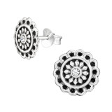 Flower - 925 Sterling Silver Stud Earrings with Crystals SD42270