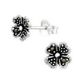 Four-Leaf Clover - 925 Sterling Silver Stud Earrings with Crystals SD42476