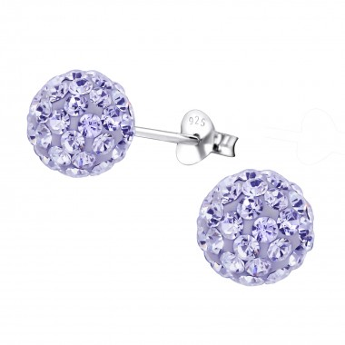 Ball - 925 Sterling Silver Stud Earrings with Crystals SD461