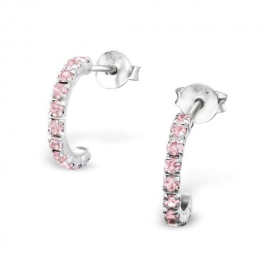 Curved - 925 Sterling Silver Stud Earrings with Crystals SD769