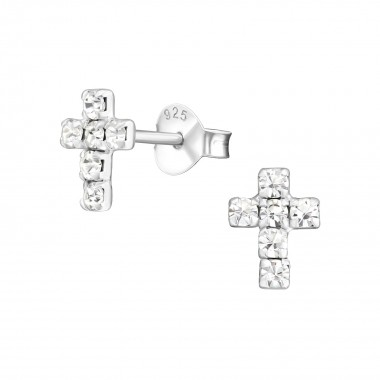 Cross - 925 Sterling Silver Stud Earrings with Crystals SD776