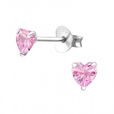 Heart - 925 Sterling Silver Stud Earrings with CZ SD1004