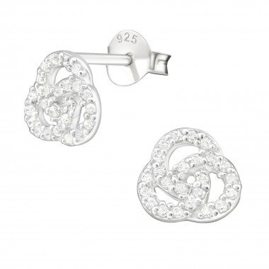 Curl - 925 Sterling Silver Stud Earrings with CZ SD21997