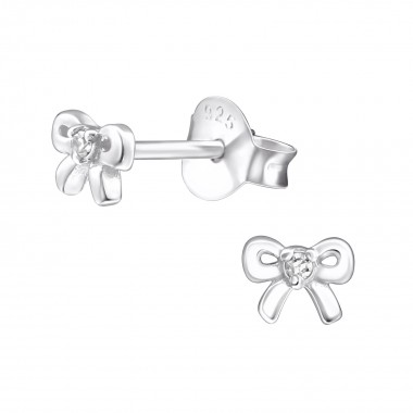 Bow - 925 Sterling Silver Stud Earrings with CZ SD27232