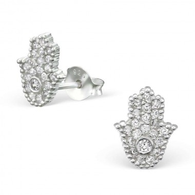 Hamsa - 925 Sterling Silver Stud Earrings with CZ SD27968