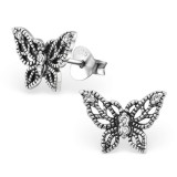Butterfly - 925 Sterling Silver Stud Earrings with CZ SD30793