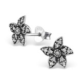 Starfish - 925 Sterling Silver Stud Earrings with CZ SD30794
