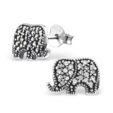 Elephant - 925 Sterling Silver Stud Earrings with CZ SD30796