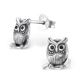 Owl - 925 Sterling Silver Stud Earrings with CZ SD30797