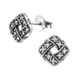 Celtic Knot - 925 Sterling Silver Stud Earrings with CZ SD30800