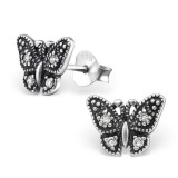 Butterfly - 925 Sterling Silver Stud Earrings with CZ SD30802
