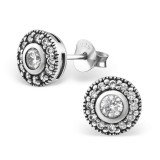Round - 925 Sterling Silver Stud Earrings with CZ SD30803