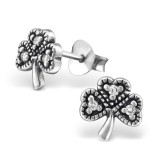 Lucky Clover - 925 Sterling Silver Stud Earrings with CZ SD30806