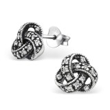 Knot - 925 Sterling Silver Stud Earrings with CZ SD30808