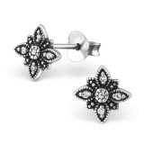 Flower - 925 Sterling Silver Stud Earrings with CZ SD30810