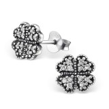 Lucky Clover - 925 Sterling Silver Stud Earrings with CZ SD30811