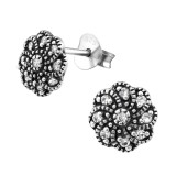Flower - 925 Sterling Silver Stud Earrings with CZ SD30812