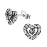 Heart - 925 Sterling Silver Stud Earrings with CZ SD30813