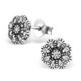 Flower - 925 Sterling Silver Stud Earrings with CZ SD30814
