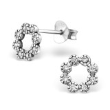 Flower - 925 Sterling Silver Stud Earrings with CZ SD30815