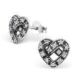 Heart - 925 Sterling Silver Stud Earrings with CZ SD30817