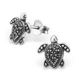 Turtle - 925 Sterling Silver Stud Earrings with CZ SD30818