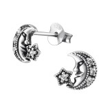 Moon - 925 Sterling Silver Stud Earrings with CZ SD30819