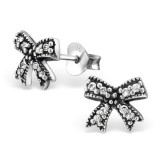 Bow - 925 Sterling Silver Stud Earrings with CZ SD30820