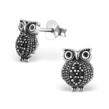 Owl - 925 Sterling Silver Stud Earrings with CZ SD30821