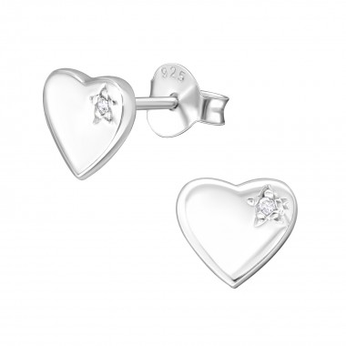 Heart - 925 Sterling Silver Stud Earrings with CZ SD3082