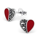 Heart - 925 Sterling Silver Stud Earrings with CZ SD30952