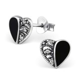 Heart - 925 Sterling Silver Stud Earrings with CZ SD30953